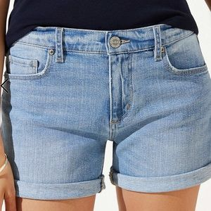 Loft roll cuff denim shorts mid indigo wash